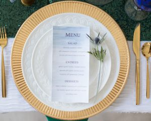 DIY watercolor menu formal holiday table