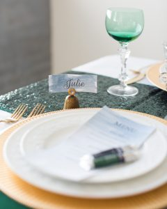 DIY watercolor placecards formal holiday tablescape