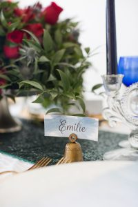 DIY watercolor placecards formal holiday table