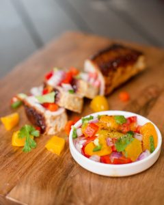 peach salsa topping grilled pork loin