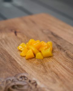chopped peaches for a peach salsa dish