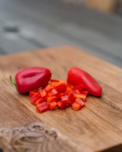 diced peppers for a peach salsa recipe