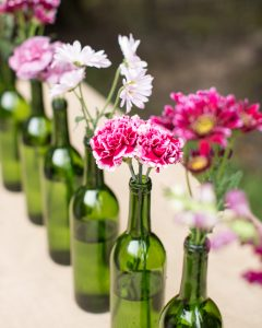 rustic purple flower centerpiece