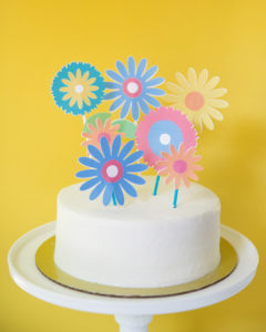colorful floral cake toppers