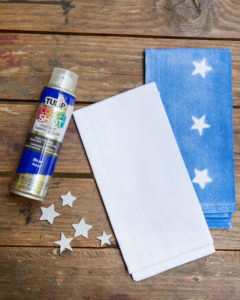 supplies needed for DIY spray painted napkins