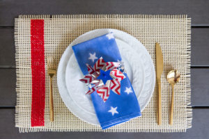 patriotic placesetting and DIY napkins