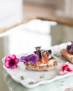 crostini with edible flowers