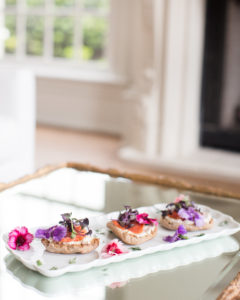 smoked salmon crostini with edible flowers