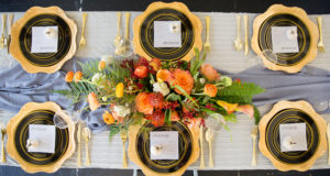orange and black fall tablescape