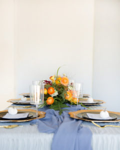 grey and orange fall table