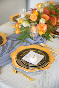 fall place setting with black and gold