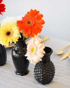black spray painted vases