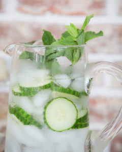 cucumber and mint water on an infused water bar