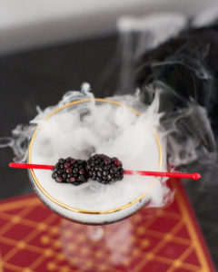 halloween cocktail with dry ice