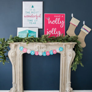 colorful holiday mantle