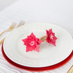 DIY poinsettia paper napkin rings
