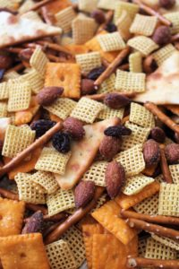 close up of spicy trail mix