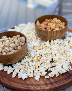 popcorn and nuts snack tray